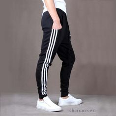 Men Casual Sports Skinny Harem Taper Sweat Pant Jogging Trousers Slacks 3 Colors in Clothes, Shoes & Accessories, Men's Clothing, Trousers   eBay