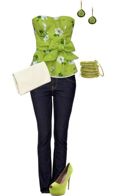 Cute green outfit for spring would look better with a sweater