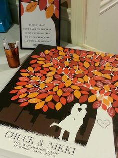 Fall wedding - wedding guest signatures on leaves on a tree painting