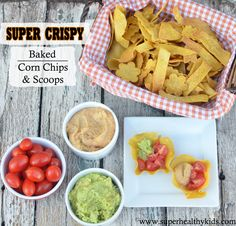 The kids will have a blast helping make these super crispy baked tortilla chips and scoops! #healthysnacks #portablesnacks #healthykids