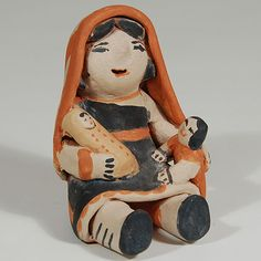 "#adobegallery - Female with Shawl Holding an Infant and a Child. Marie Charlotte Suina (1964 - 2010)      Category: Figurines     Origin: Cochiti Pueblo     Medium: clay, pigment     Size: 3-5/8"" height x 3"" depth x 2-3/4"" width     Item # C3688.70"
