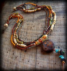 African Ethnic Tribal Gypsy Bohemian Beaded Necklace by yuccabloom