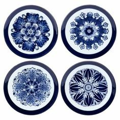 """4 porcelain dessert plates in hand-painted blue and white with classic ornamentation.   Product: 4 Piece dessert plate setConstruction Material: PorcelainColor: Blue and whiteFeatures: Hand-paintedDimensions: 6.25"""" Diameter eachCleaning and Care: Wipe with soft dust cloth"""
