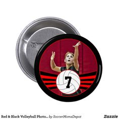 Red & Black Volleyball Photo & Jersey Number Button - A wonderful senior gift for volleyball players with red team colors! Personalize it with your own photo and jersey number! #volleyball #volleyballseniors #seniorgift #sports #red #customizable