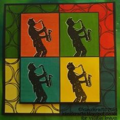 Visible Image stamps - Warhol inspired - Jazz It Up - Sax Player - Kim Bacon