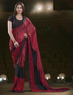 Soft+Silk+Maroon+&+Black+Printed+Saree+-+4108 at Rs 5449