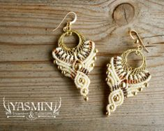 DANGLE EARRINGS/ white earrings/ bridal by yasminsjewelry on Etsy