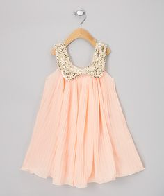 Light Pink Pleat Sequin Swing Dress - Infant, Toddler & Girls by Sweet Cheeks on #zulily
