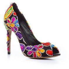 Women s Shoes Winter Basic Pump Heels Stiletto Heel Peep Toe Cascading... ($55) ❤ liked on Polyvore featuring shoes, pumps, rosegal, peep-toe pumps, blossom shoes, flower pumps, party shoes and peep toe stilettos