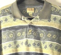 Men Polo Golf Rugby Shirt Size M Gray Blue Khaki. #LB #PoloRugby