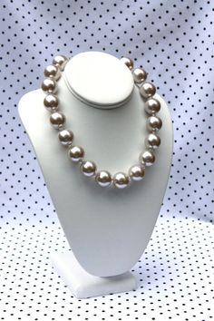 "Classic Pearl Necklace - Chunky Bead Necklace, Big Pearls, adjustable 16"" - 19"" long"