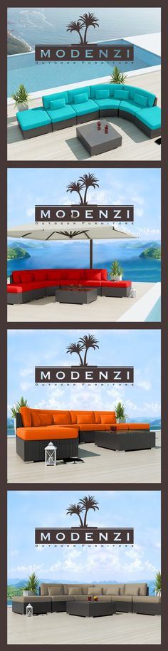 Modenzi 7x Modern Patio Rattan Wicker Set Outdoor Sectional Sofa Furniture Chair 9 Colors Beautiful ROUND CORNER Modular DESIGN