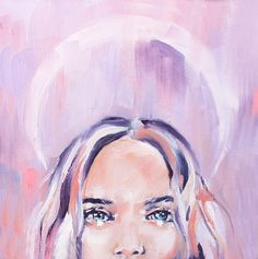 """KALEIDOSCOPE EYES """"At the height of laughter, the universe is flung into a kaleidoscope of new possibilities"""" - Jean Houston Medium: Oils with spray paint Materials: Original on canvas Variations: Pink, Lilac & Turquoise Size: 23x23cm"""