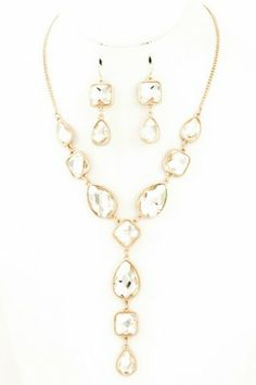 Faceted mixed stone necklace. #salediem #jewelry #gold #accessories