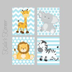 JUNGLE NURSERY ART - Jungle Nursery Decor, safari nursery, giraffe, zebra, lion…