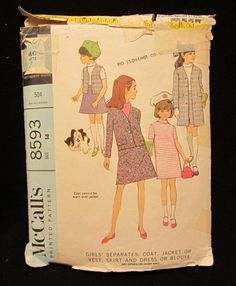 Items similar to McCall's Pattern Girls' Separates- Coat, Jacket or Vest, Skirt and Dress or Blouse- Size 14 on Etsy Mccalls Patterns, Vintage Sewing Patterns, Dress Patterns, Jacket Pattern, Girls, Prints, Toddler Girls, Dress Making Patterns, Daughters