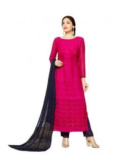 Festival Wear Pink & Blue Chiffon Salwar Suit  - 70937