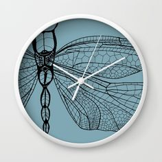 Dragonfly on Blue Wall Clock