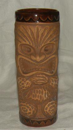 Vintage Kon Tiki Ports Chicago Boston S. Crane Brown Mug Ceramic Glass Tumbler