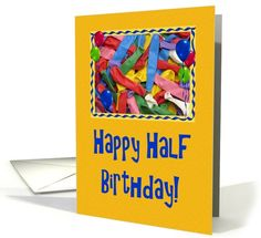 Balloons For Half Birthday-Blue Text-Mustard Background Card. Recently purchased by a customer in Massachusetts. Thank You!