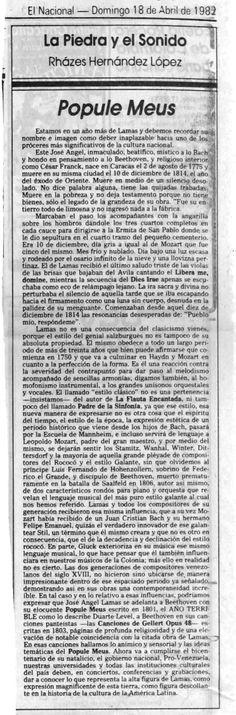 Popule meus de José Ángel Lamas Publicado el 18 de abril de 1982