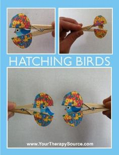 How cute are these?  Hatching birds inside clothes pins.  Free download for two games