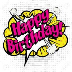 Illustration of Pop Art comics icon Happy Birthday! vector art, clipart and stock vectors. Pop Art Comics, Bd Comics, Bd Pop Art, Pop Art Girl, Happy Birthday Art, Birthday Greetings, Comic Kunst, Comic Art, Desenho Pop Art