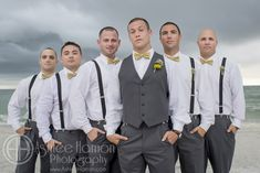 Yellow and Grey Shabby Chic Beach Wedding at the Sirata on St. Pete Beach! Yellow Billy Ball Boutonnieres groomsmen www.ashleehamon.com