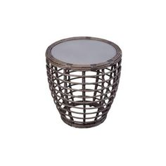 Hampton Bay Cane Crossing All-Weather Wicker 20 in. Patio Drum Table-153-105-20GT - The Home Depot