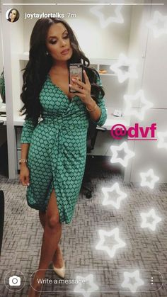 Sexy Joy Taylor in Green Dress Joy Taylor, Fox Sports 1, Green Dress, Wrap Dress, Lifestyle, Hot, Sexy, Fitness