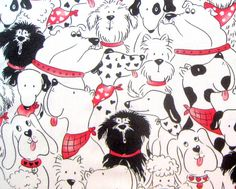 Doggone Party Cotton Fabric 1/2 yard units  by NewEnglandQuilter, $5.00 omg pj's for Michaela.