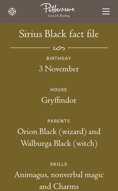 JK Rowling just announced Sirius Black's birthday as November 3rd on Pottermore!