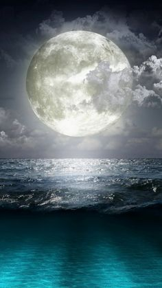 Super Moon and Blue Ocean