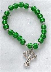 "Green Irish Beaded Bracelets with Celtic Cross Charm 7"""