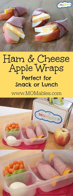 These Ham and Cheese Apple Wraps are the perfect afterschool snack. They also pack well as a lunch with some extra fruit and veggies. Watch how easy they are to make! (delicious snacks ham and cheese) Snacks For Work, Lunch Snacks, Clean Eating Snacks, Healthy Eating, Diet Snacks, Fruit Snacks, Easy Snacks, Healthy Food, Healthy School Snacks