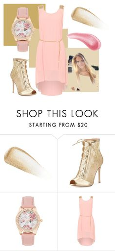 """""""Golden rose"""" by hatersbackoff ❤ liked on Polyvore featuring Yves Saint Laurent, Gianvito Rossi, WearAll and Bare Escentuals"""