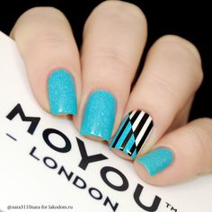 Ideas For Nails Blue Black Shape Trendy Nail Art, Stylish Nails, Nail Art Diy, Peach Nails, Blue Nails, Fabulous Nails, Perfect Nails, Wow Nails, Uñas Fashion