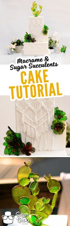 Macrame is back! It's modern and beautiful and we love how it turned out on this gorgeous wedding cake! And those sugar succulents? Stunning! Inspired by glass sculpture they are sure to impress. Sign up as a Premium or Elite Member today to access this amazing tutorial! https://sugargeekshow.com/become-a-member/