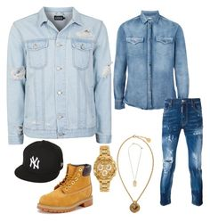 All Denim by stephen-christopher on Polyvore featuring polyvore, Brunello Cucinelli, Dsquared2, Topman, Versace, New Era, Timberland, men's fashion, menswear and clothing