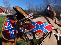 barrel racing confederate flag tack | 16-REBEL-WESTERN-HORSE-BARREL-RACER-PLEASURE-TRAIL-SADDLE-BRIDLE ...