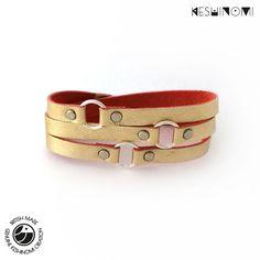 Gold leather wrap bracelet for women triple wrap by Keshinomi