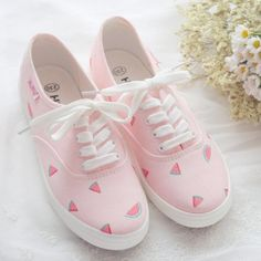 Hand painted watermelon sneakers // discount code: kawaii-finds Find more kawaii. - Hand painted watermelon sneakers // discount code: kawaii-finds Find more kawaii at Kawaii Finds! Girls Sneakers, Girls Shoes, Sneakers Fashion, Fashion Shoes, Women's Sneakers, Cute Girl Shoes, Girls Footwear, Prom Shoes, Women's Shoes