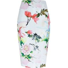 River Island Pink floral print jersey pencil skirt (€45) ❤ liked on Polyvore featuring skirts, bottoms, pencil skirt, river island, pink, tube / pencil skirts, women, summer skirts, tube skirt and floral knee length skirt