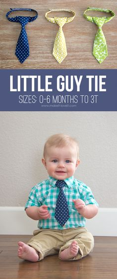 Sewing for baby - DIY gifts for babies - how to make a little boy tie - easy sewing projects Baby Sewing Projects, Sewing Projects For Beginners, Sewing Tutorials, Sewing Crafts, Sewing Tips, Sewing Hacks, Scrap Fabric Projects, Knitting Projects, Love Sewing