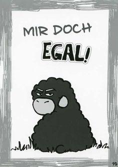 Olaf das Grummelschaf und Poppy Postkarte mit lustigen Sprüchen - Mir doch egal! Postkarten Lustige Sprüche