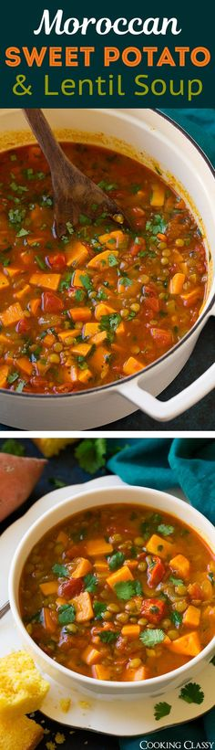Moroccan Sweet Potato and Lentil Soup - This is a healthy, hearty vegetarian soup that's so deliciously flavorful no one will even miss the meat! #sweetpotato #soup #healthy #recipe #fall
