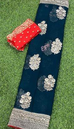 Buy blue color Exclusive collection of pure georgette sarees 8897195985 Chiffon Saree, Kanjivaram Sarees Silk, Pure Georgette Sarees, Designer Sarees Wedding, Saree Wedding, Bottle Green Saree, Royal Blue Saree, Bridal Sarees South Indian, Pattu Saree Blouse Designs