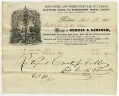 Invoice from Curtis & Lincoln Seed Store of Boston, Massachusetts to Perkins Institution.  Invoice for linden and horse chestnut trees from 1855. Visit the Perkins Archives Flicker page: http://www.flickr.com/photos/perkinsarchive/collections/