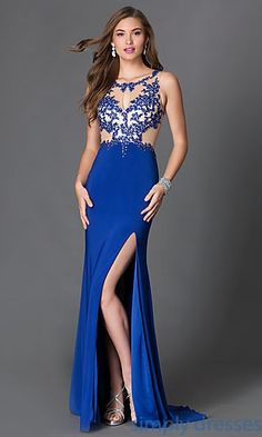 Shop long prom dresses with beaded illusion mesh tops at Simply Dresses. Long sleeveless evening gowns with sequins and embroidered lace applique.