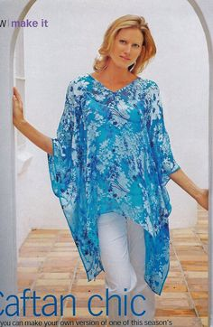 Easy Caftan Pattern this is pic of pattern with Russian instructions Sewing Patterns Free, Free Sewing, Clothing Patterns, Diy Clothing, Sewing Clothes, Sewing Hacks, Sewing Tutorials, Kaftan Pattern, Estilo Hippie